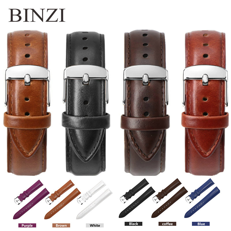 BINZI Watch Band Leather Watchband Men Women 22mm 20mm 18mm 16mm 14mm 12mm Strap Belt Watchbands Bracelet Genuine Wrist Band New цена