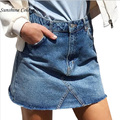 2017 Vintage Basic High Waist Blue Denim Skirt Autumn Winter  Pocket Button Short Skirt Casual Streetwear Women Skirt
