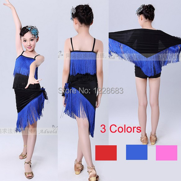 New Arrival Blue Hot Pink Red 120cm-180cm Unequal Fringe Salsa Dance Dresses Latin Dance Dress For Girls