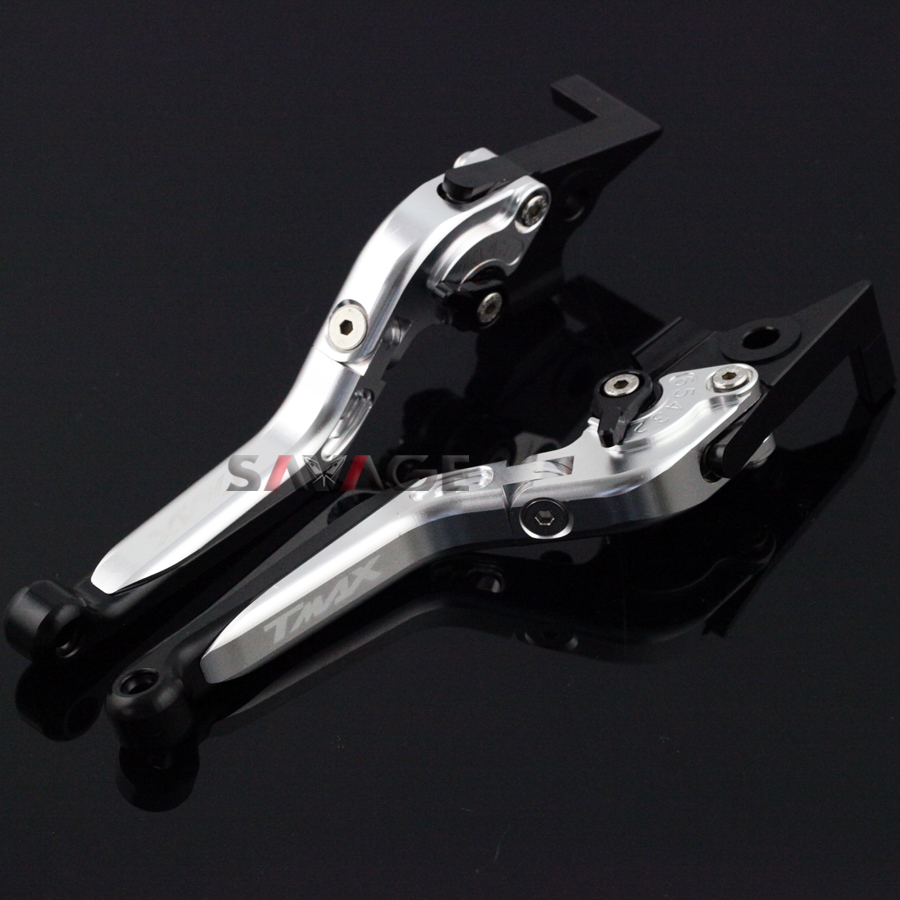 For YAMAHA XP500 T-MAX XP530 T-MAX 2010-2016 Silver Motorcycle Adjustable Folding Extendable Brake Clutch Lever logo TMAX