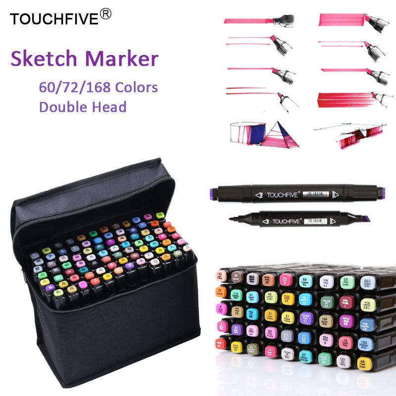 TouchFIVE 60 72 168 Colors Marker Pens Animation Sketch Markers Set Drawing Marker Pen for Artist Manga Marker Brush Supplies in Art Markers from Office School Supplies