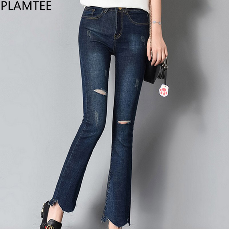PLAMTEE Ripped High Wasit Jeans Women Hole Asymmetrical Denim Flare Pants Korean Skinny Jean Trousers Autumn Winter 2017 New plamtee high waist jeans for women ripped denim pants female hole ankle length jean trousers feminina skinny autumn pantalon new