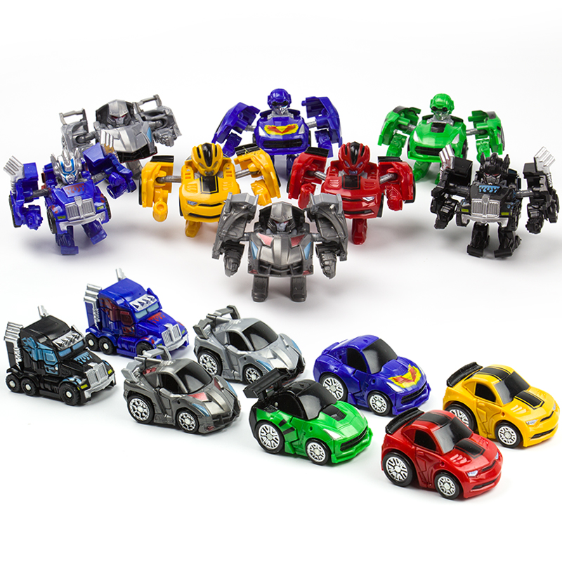 Mini Transformation Robots Toys Cars Cute Figurine Model Block Toys For Child Action Figures Plastic Boys Gift
