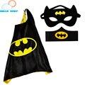 50 sets 1 Capa + 1 Máscara 1 unid cuff muñequera conjuntos niños niños capas de superhéroes spiderman superman traje trajes de superhéroes cosplay