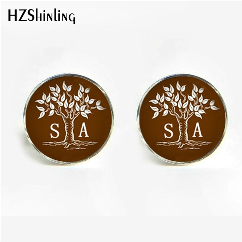 HZShinling New Design Tree of Life Cufflinks Handmade Custom Initial Name Glass Dome Cufflink for Men Wedding Gift