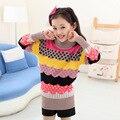 Новое прибытие Весна Зима Дети Дети Девушки свитера большие девочки вязаный кардиган свитера, пуловеры