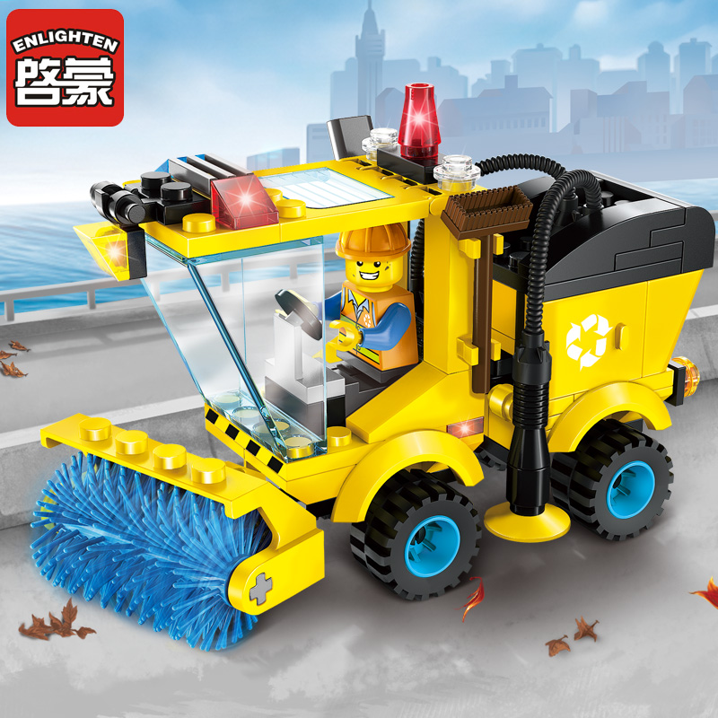 Enlighten Building Block City Cars Street Sweeper 102pcs Educational Bricks Toy Boy Gift ...