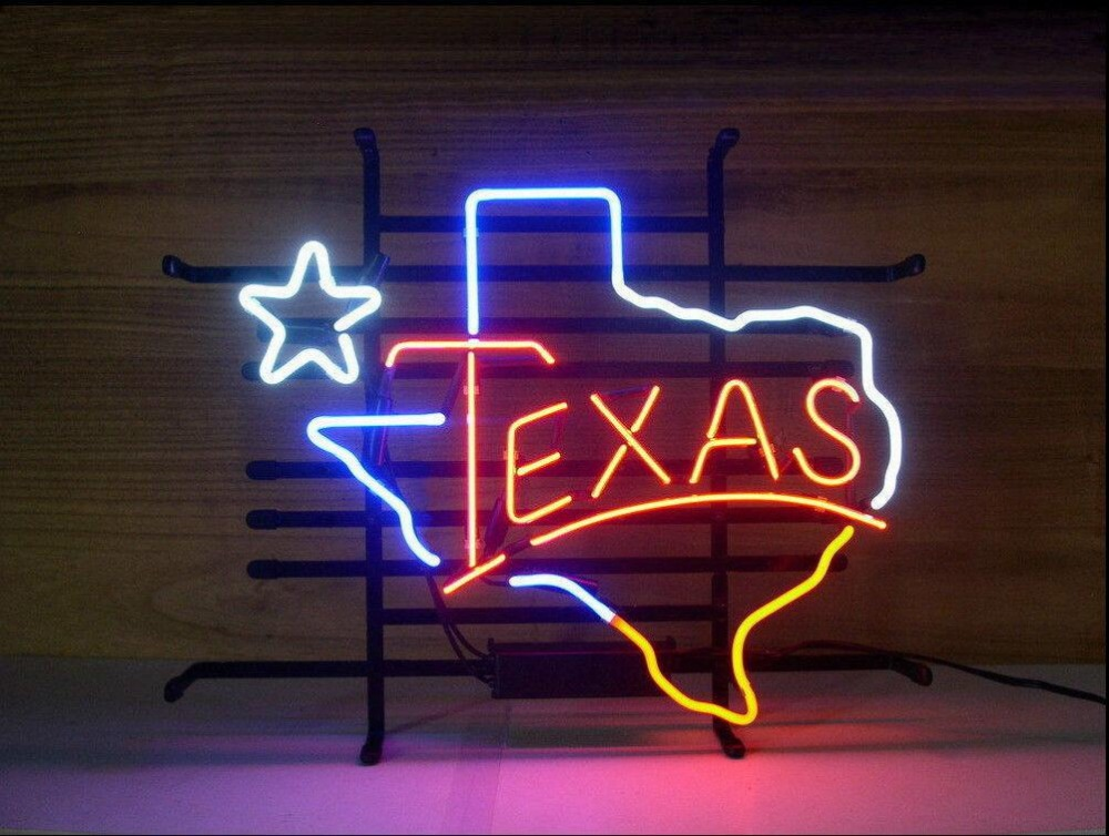 TEXAS LONE STAR Glass Neon Light Sign Beer BarTEXAS LONE STAR Glass Neon Light Sign Beer Bar