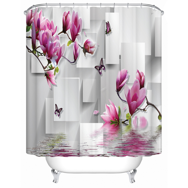 Bathroom 3d Shower Curtains Floral Print Fabric Waterproof Mildew Resistant  Bath Decor Curtain For Windows