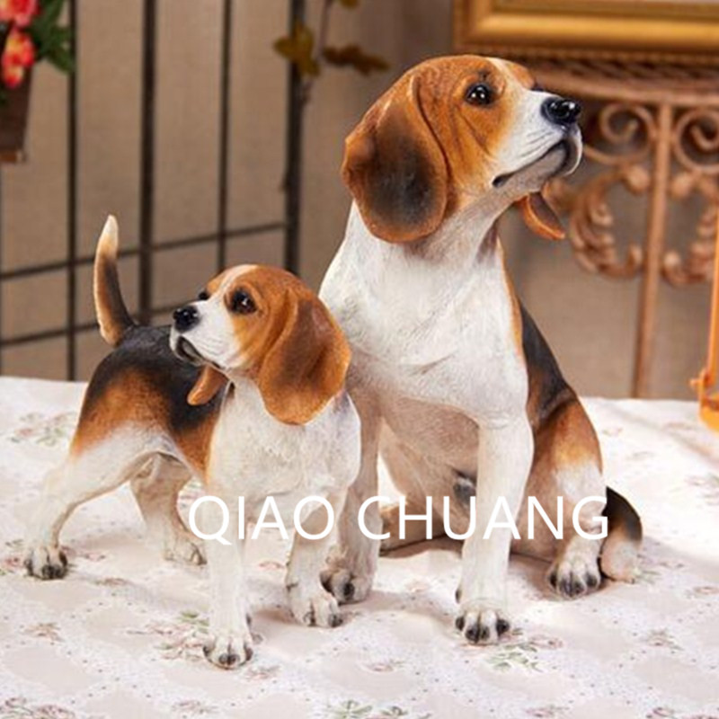 Cute Animals Statue Beagle Simulation Lucky Dog Home Decorations Action Figure Resin Art Craft Collectible Model Toy L1448