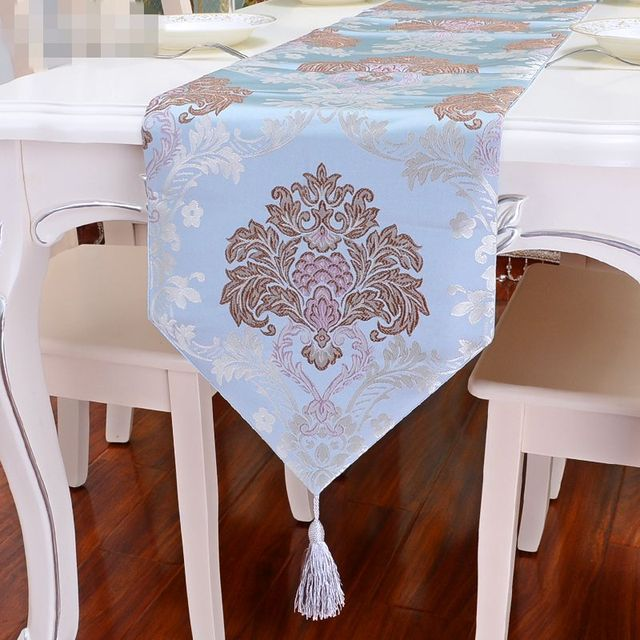 Elegant Damask Table Runner Floral Design Party Wedding Decor Chinese Silk  Tablecloth Modern Runners