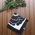60 см * 60 см новый черный и белый монохромный большой цветы шарф шелковый шарф моделирование