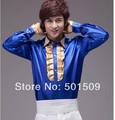 Free shipping golden ruffled bowtie scuffs decoration blue mens tuxedo shirts party/event shirts