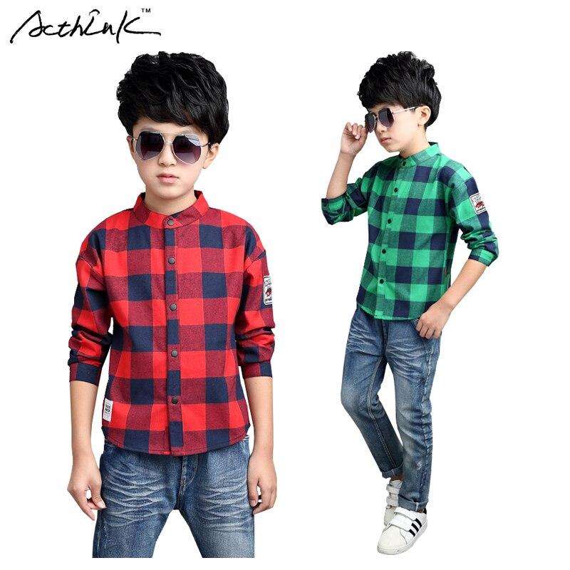 ActhInK Big Boys Plaid ruha póló Gyengéd fiúk 95% pamut Patchwork - Gyermekruházat