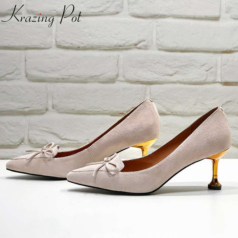 Krazing Pot 2018 sheep suede slip on pumps pointed toe bowtie fairy concise thin high heels brand metal heels leather shoes L17 krazing pot shoes women fashion sheep suede bowtie pointed toe preppy style stiletto high heels pumps slip on fairy mules l05