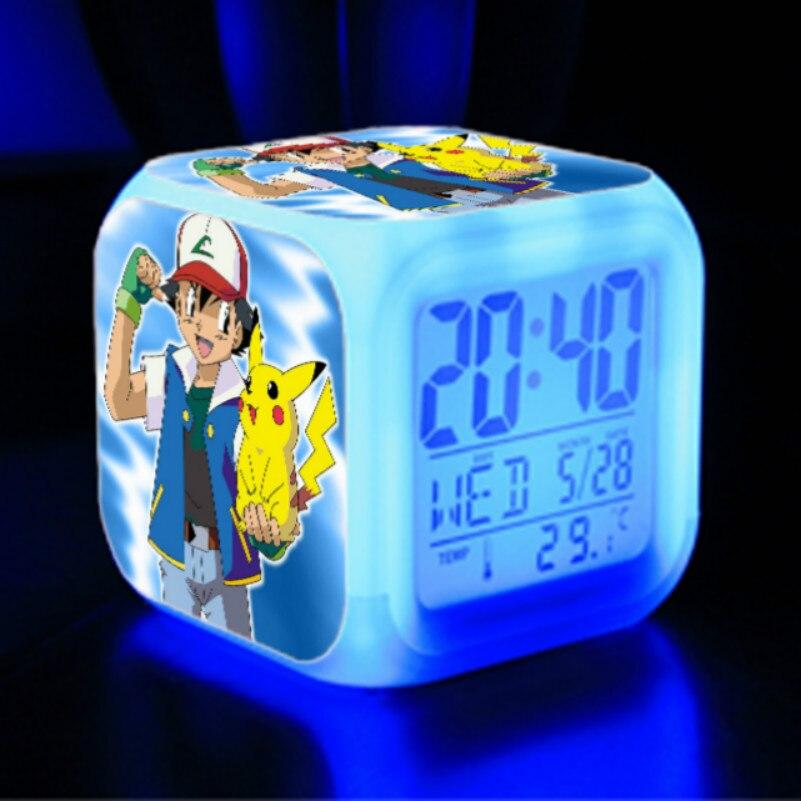 Nouveau pokemon go numérique 7 couleurs changement LED réveil numérique veilleuse coloré horloge changeante