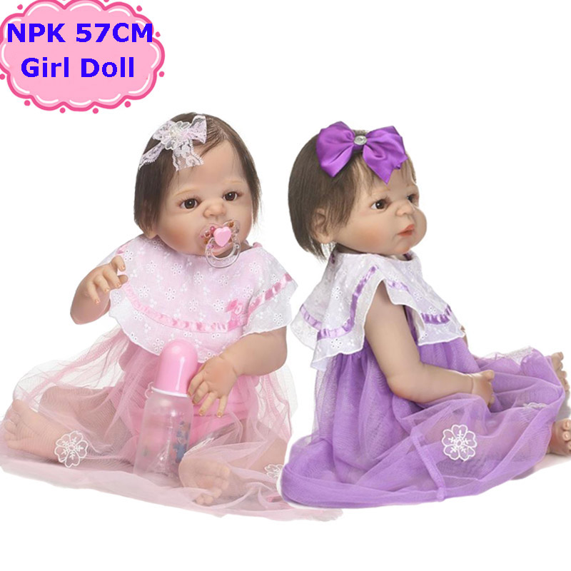 22Inch NPK New Design Full Body Silicone Reborn Dolls Alive Bebe Girls Toy In Pretty Gauze Skirt For Girls Gift Child Playmate bigbang 2012 bigbang live concert alive tour in seoul release date 2013 01 10 kpop