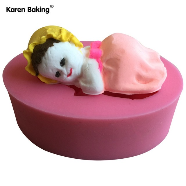 3D Sleeping Baby Girl Design Christmas Fondant Silicone Cake Mold For Cupcake Decorating Tools Candy C642