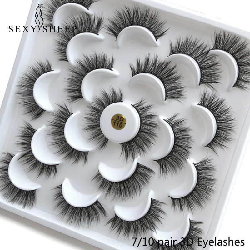 SEXYSHEEP 3/4/7/10 пар 3D накладные ресницы из норки натуральные длинные накладные ресницы драматического накладные ресницы для наращивания ресниц