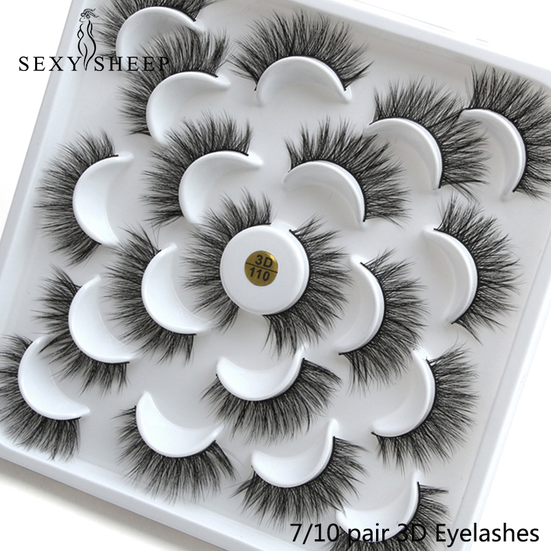 SEXYSHEEP 3/4/7/10 Pair 3D Faux Mink Eyelashes Natural Long False Eyelashes Dramatic Fake Lashes Makeup Extension Eyelashes