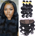 7A Grade Unprocessed Brazilian Virgin Hair Bundles With Silk Base Frontal Body Wave Bleached Knots Silk Base Frontal Closure
