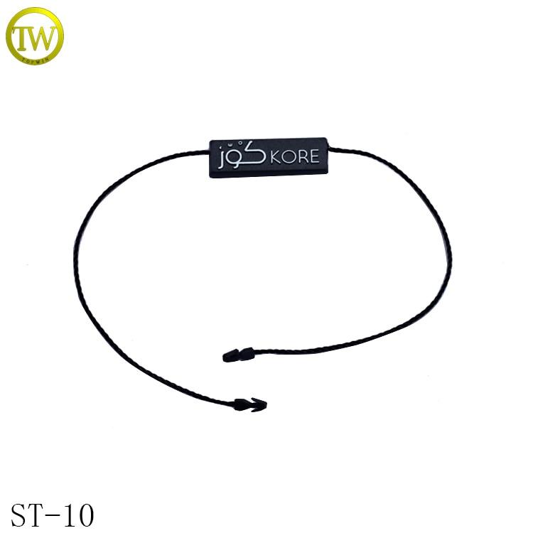 ST10 Custom black embossed logo string plastic seal tag for clothing hang tag
