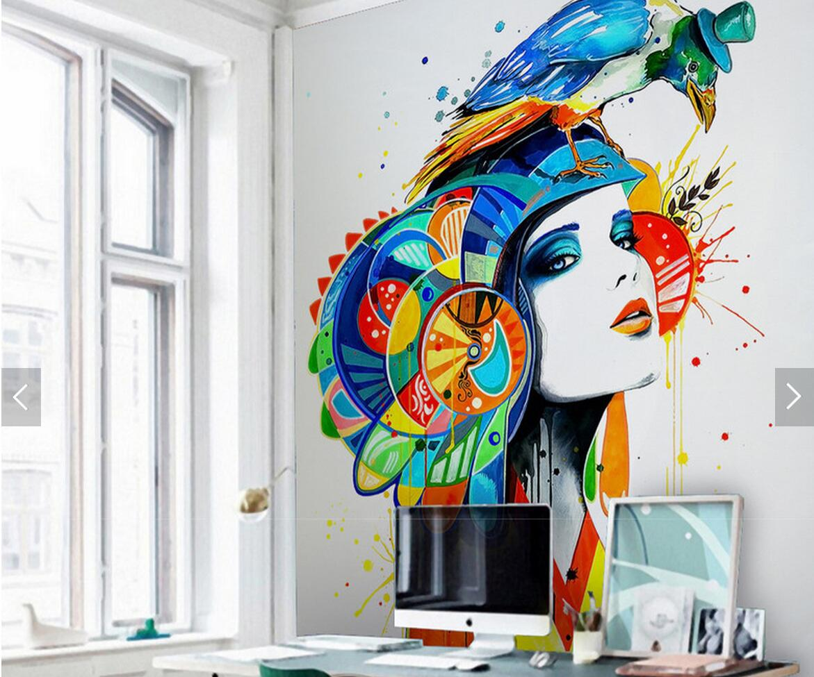 <font><b>Sex</b></font> Girl Parrot Abstract Painting Wall Mural Photo <font><b>Wallpaper</b></font> Rolls for Living Room Study Room Wall Papers Home Wall Decor Murals image