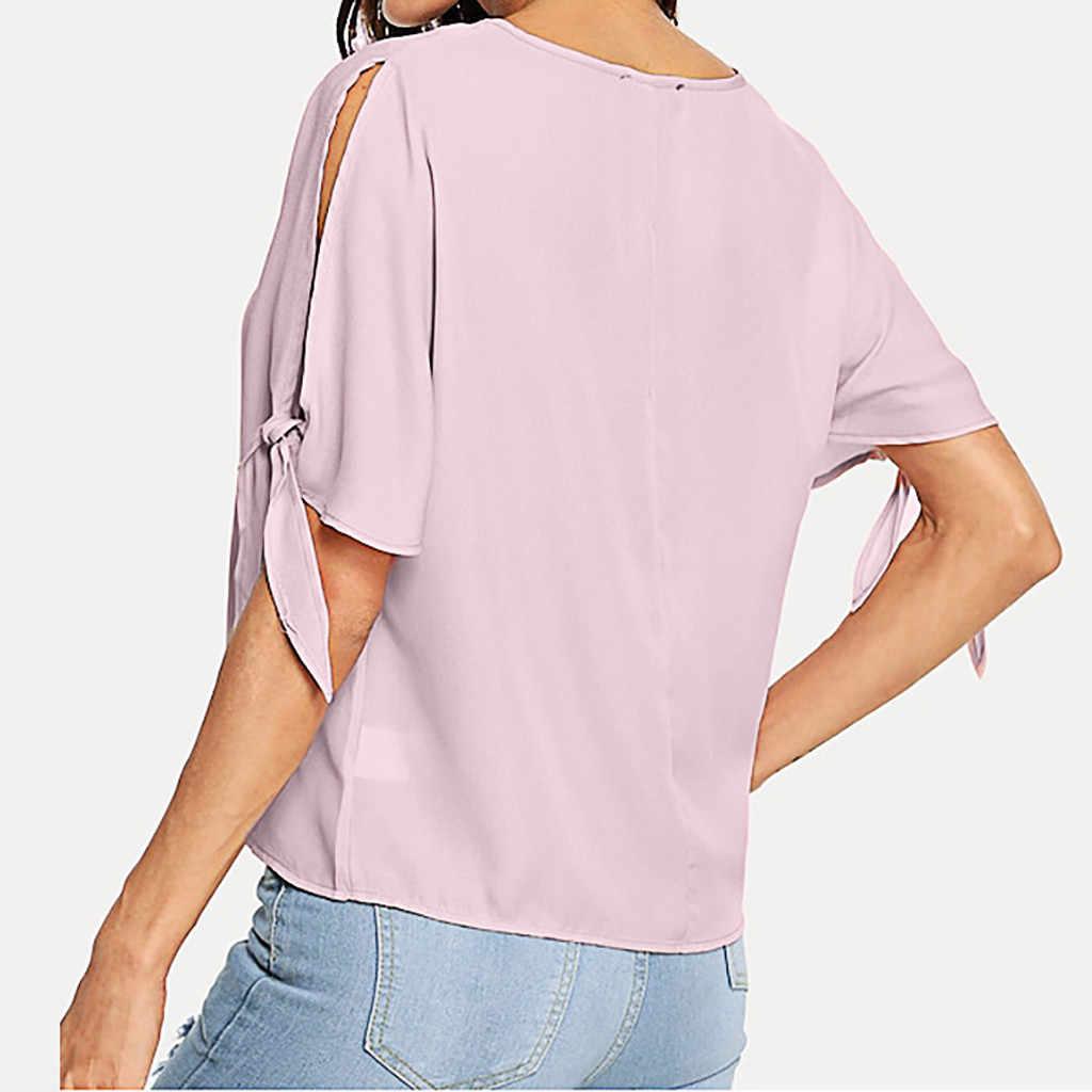 أزياء المرأة عارضة المحملة قميص الصيف عطلة اللؤلؤ مطرز الشق عقدة صفعة ضمادة بلوزات مستديرة العنق تي شيرت ملابس للنساء هوت فام