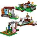 4 Sets My World 390 unids El Pueblo Minecrafted Figuras de Construcción de Ladrillo Juguetes Regalo Compatible Legoes
