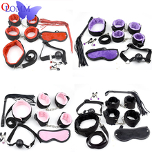 7Pcs/Set Adult Products Slave SM Games PU Leather Plush Fetish BDSM Bondage Sex Toys For Adults Mask Whip Mouth Gag Handcuffs