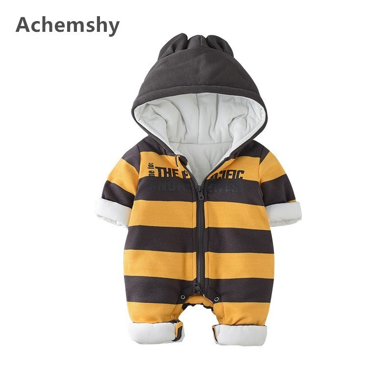 Winter Infant Warm Striped Hooded Romper Baby Boys Girls Plus Velvet Thickening Cotton-padded Clothes Outwear Jumpsuit