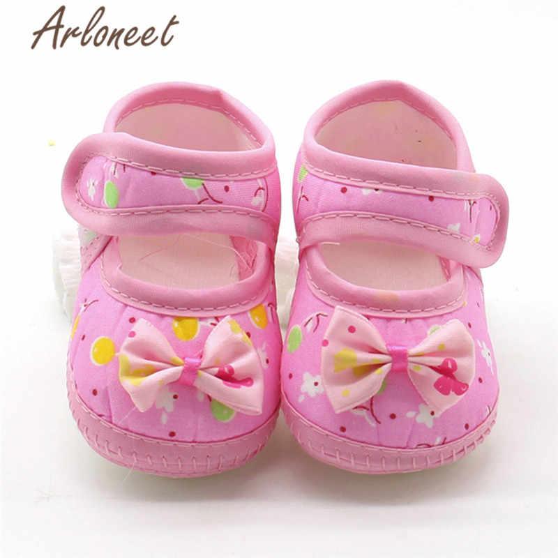 ARLONEET 2019 Pasgeboren jongens Meisjes baby katoen stof Canvas Anti-slip Schoenen Boog cartoon print Sneaker Leuke Baby Doek wieg Schoenen