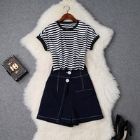 Women girls casual striped t shirts + safty shorts suit denim jeans short holiday two piece set new 2019 spring summer