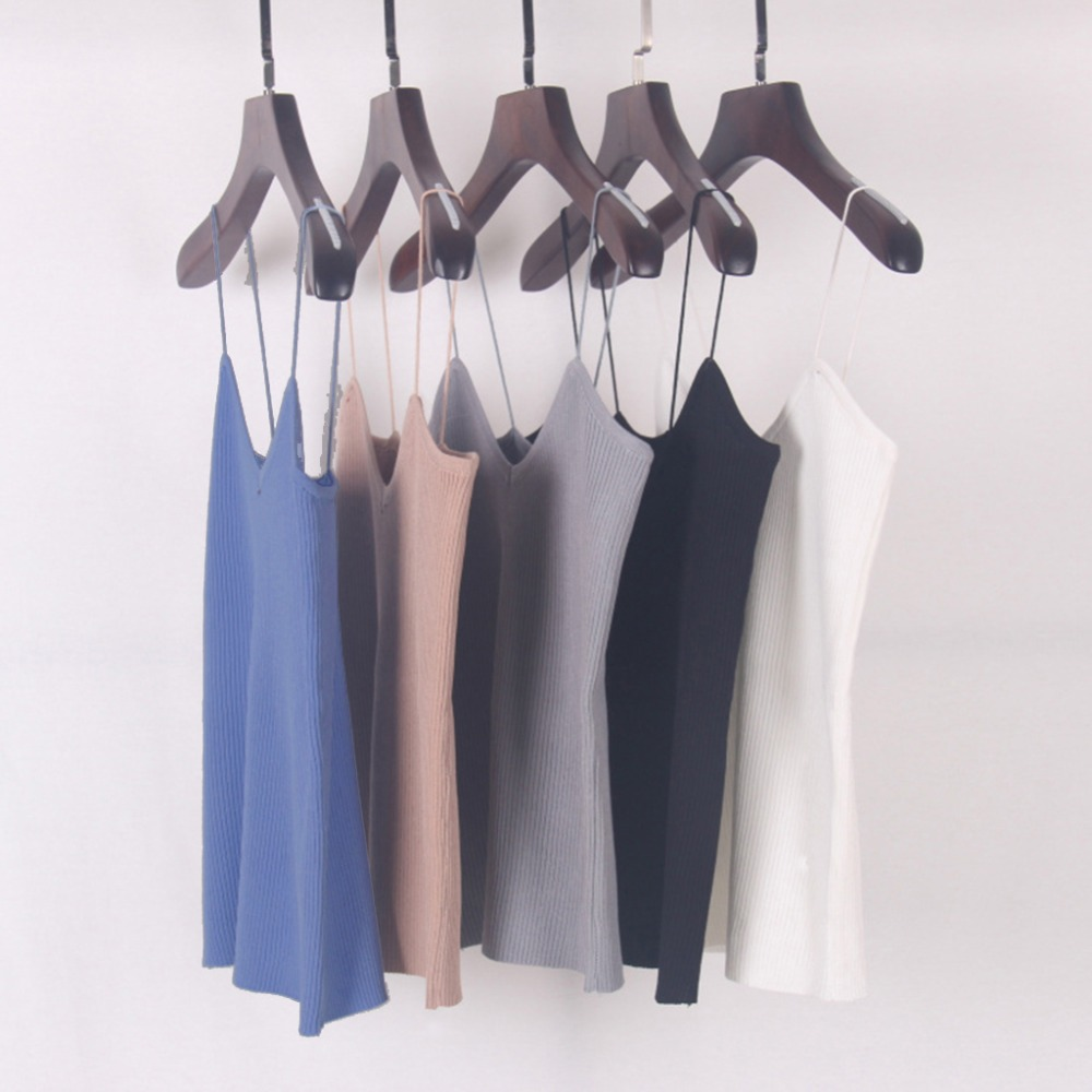 Knitted Tank Tops Bra Women Camisole Simple Vest Stretchable V Neck Slim Sexy Tank Ribbons Strappy 9 Colors