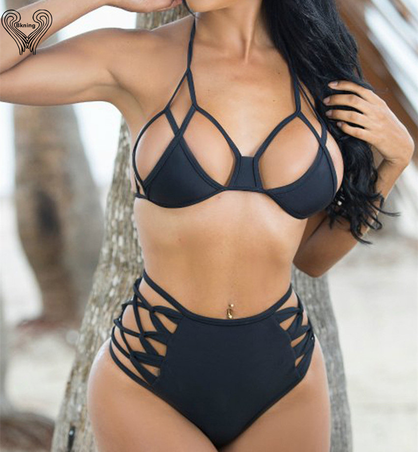 Thong Bikini Plus Size Swim Suit Black bandage swimwear High Cut bikini Lace Up 2019 swimsuit bathing suit pin up bikiny