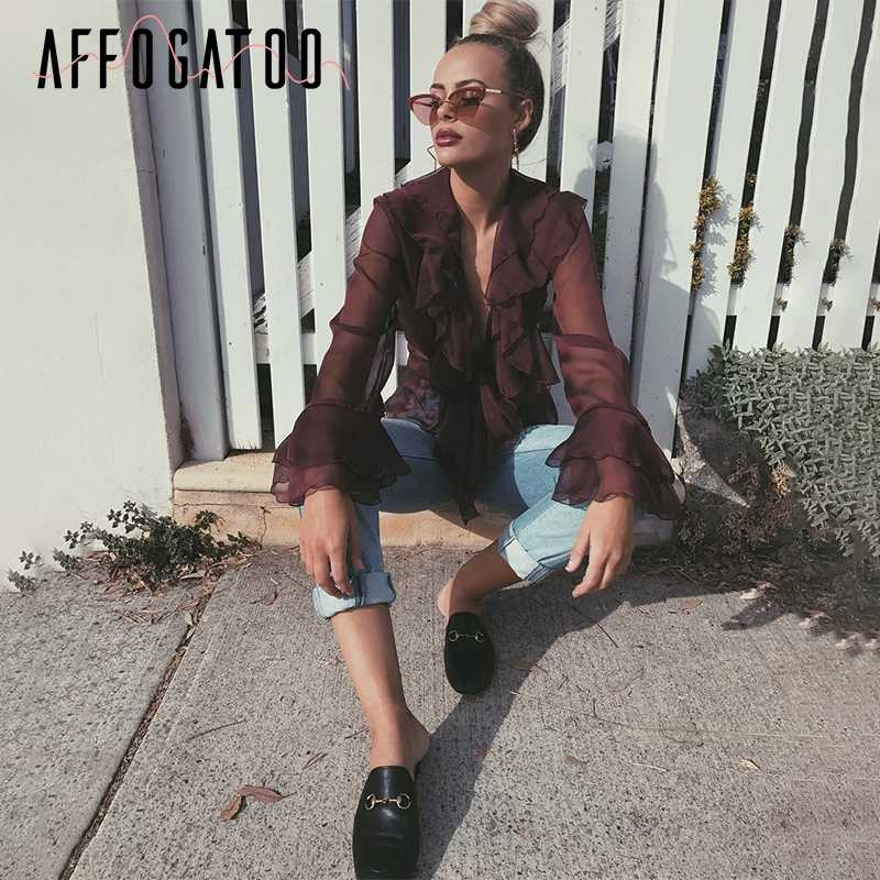 Affogatoo v ネックのセクシーなシフォンブラウスシャツフリル flare 長袖ブラウスカジュアルワイン赤ビーチ夏のブラウストップス女性 2018