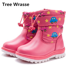 Tree Wrasse Children Snow Boots Winter Girls Cartoon Cotton Shoes Baby Boys Martin Boots Kids Warm Waterproof Rubber Shoes