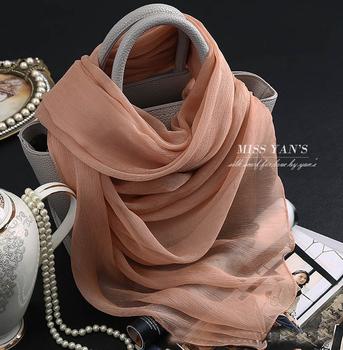 Jasnoniebieski 100 jedwab Krepa Długie chusty i szale miękkie szale jedwabne szaliki dla kobiet cienkie lato suncreen jersey hijabs tanie i dobre opinie Stałe Dla dorosłych Szal Okład Moda WOMEN SILK HZHD022 100 silk scarves 175 cm