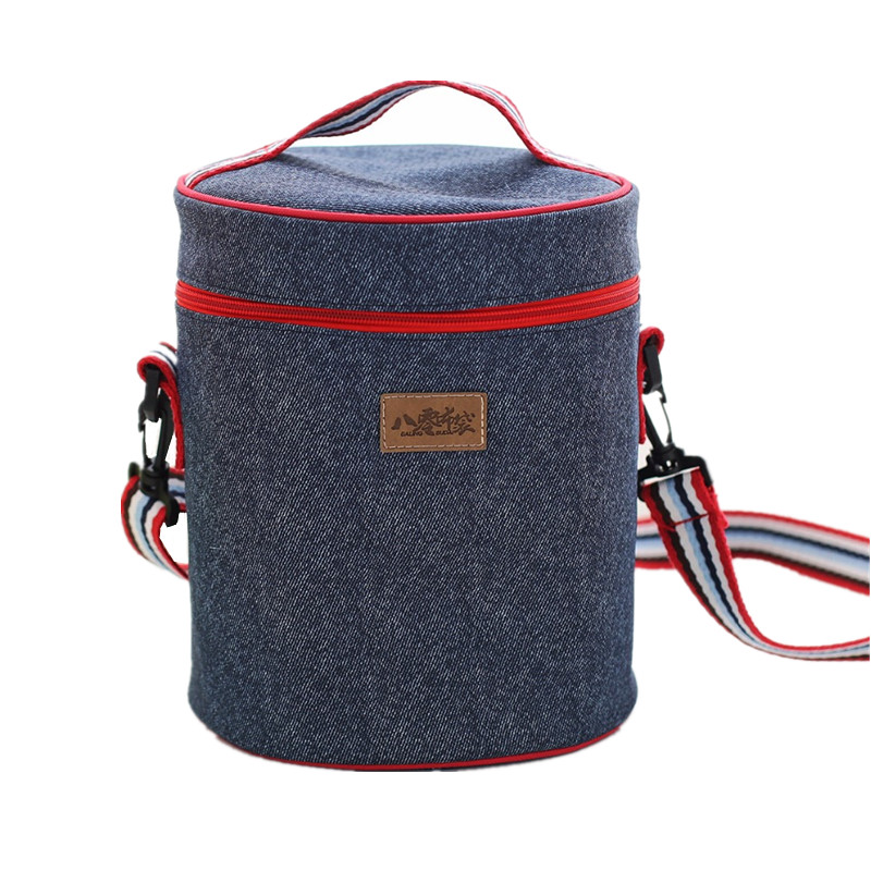 Denim Cylindrical Lunch Bag For Women Picnic Bento Box Insulated Pack Drink Food Thermal Ice Cooler Leisure Accessories