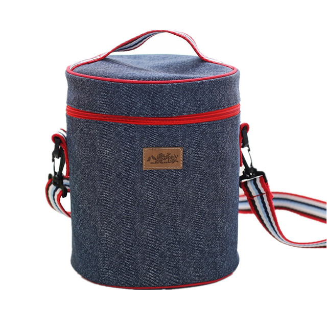 Denim Designer Lunch Bags Women Drink Food Thermal Ice Cooler Picnic Bento Box Insulated Pack Pouch