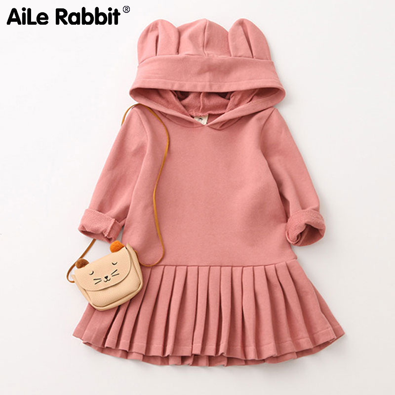 AiLe Rabbit 2018 New Autumn Long Sleeve Sweaters Dress Hoodie Shape Girls Clothes Pleated Dresses Cute Ear Hats Kids Wear cute zippered long sleeve hoodie for women