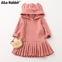 AiLe Rabbit 2018 New Autumn Long Sleeve Sweaters Dress Hoodie Shape Girls Clothes Pleated Dresses Cute Ear Hats Kids Wear(China)