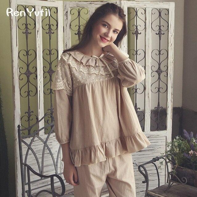 6577ceede2 RenYvtil Brand Women Pajamas Summer Long Sleeve Pajama Pants Sets Cotton  Polka Dots Pyjama Lounge Set