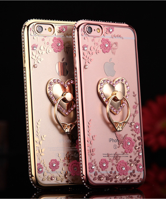 detailed look 9c9bf 7a21f US $2.85  Fashion Design Ladies Diamond Flower Mobile Phone Cases for  iPhone 5S SE 6 6S 6Plus 6S Plus Case Cover With Ring Buckle Bracket on ...