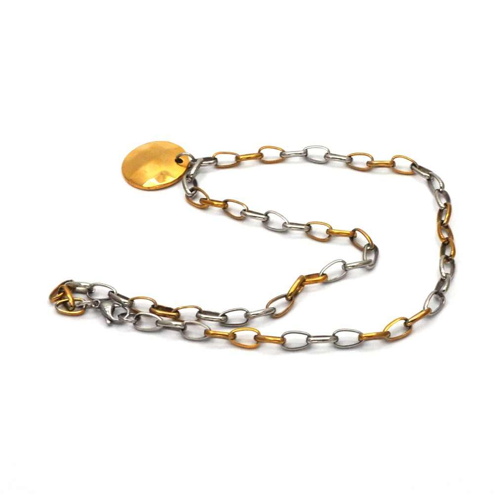 New style fashion punk style stainless steel necklace gold color circular pendent chain necklace spot wholeseal for men N04091
