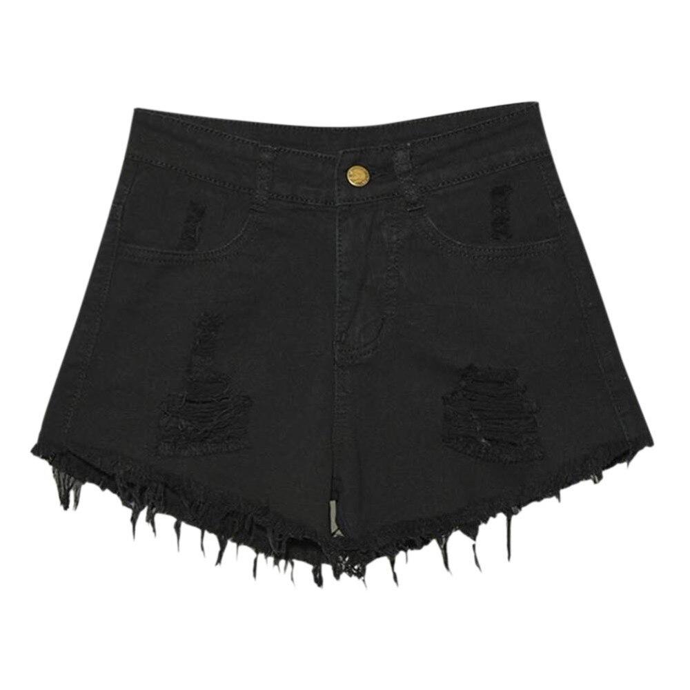 Fashion Sexy Women High Waist Ripped Hole Denim Jeans   Shorts   Fraying Edges   Shorts   Plus Size Female   Shorts