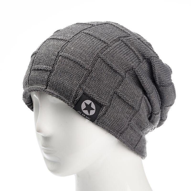 21a2aa46594 2019 2018 Unisex Fleece Lined Beanie Hat Knit Wool Warm Winter Hat ...