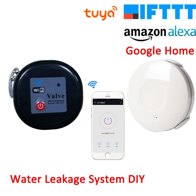 Tuya Amazon Alexa Google Assistant IFTTT Water Sensor Leakage Alarm System WiFi Valve Smart Life APP