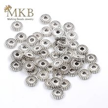 Miçangas espaçadoras de metal 6mm, 100 peças, espaçador de prata tibetano, contas redondas para fabricação de jóias, adequado para pulseira diy colar com colar