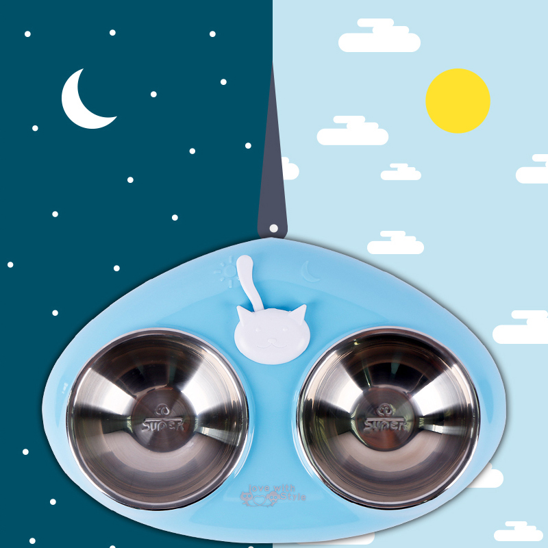 Stainless Steel Pet Double Bowl Anti Slip Cat Dog Water Food Dish Pet Supplies Sun And Moon Indicating Cat And Dog Bowl